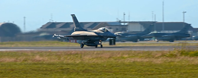 Capt. Joshua Rasmussen, 555th Fighter Squadron pilot, begins his take off in an F-16 Fighting Falcon at Aviano Air Base, Italy, Oct. 24.  The F-16 Fighting Falcon is a compact, multi-role fighter aircraft. It is highly maneuverable and has proven itself in air-to-air combat and air-to-surface attack. (U.S. Air Force photo/Airman 1st Class Matthew Lotz)