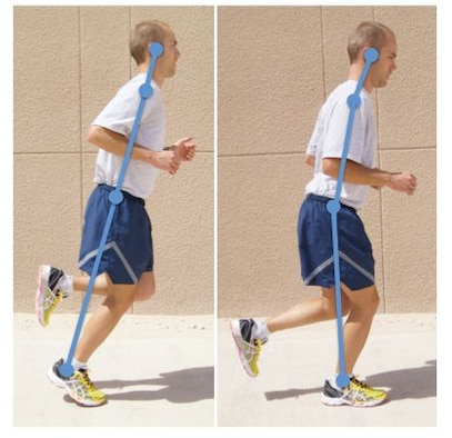 "One of the main causes of running injuries is poor form. If your car is not aligned, it will eventually wear your tires unevenly. Similarly if you aren't running with good form, you will eventually ""wear unevenly."" Good form includes good upright posture, leaning forward at your ankles (not bending forward at your back or waist), landing on your mid foot (not your heel) and having a turnover of about 180 steps per minutes. (Courtesy photo)"