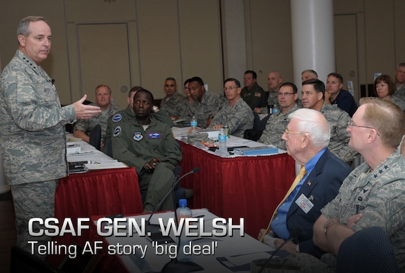 Air Force Chief of Staff Gen. Mark A. Welsh III speaks to Air Education and Training Command leaders during the AETC Senior Leader Conference Oct. 18, 2012. In addition to being a guest speaker at the conference, Welsh visited Basic Military Training at Joint Base San Antonio-Lackland and participated in a BMT graduation as the reviewing official. (U.S. Air Force photo/Joel Martinez)