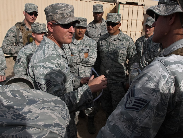 Staff Sgt. Ron Wood, 620th Ground Combat Training Squadron, briefs exercise controllers and observers prior to a training scenario during Road Warrior X a training exercise conducted by the 620th GCTS at Camp Guernsey, Wyo., Oct. 19. (U.S. Air Force photo by R.J. Oriez)