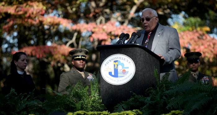 Ronald J. Bower, a member of the Beirut Memorial Advisory Board, talks about the history of the memorial during the Beirut Memorial Service Ceremony in Jacksonville, N.C., Oct. 23. Bower discussed how the service members who gave their lives in Beirut are observed every year with the event, and the Beirut survivors in attendance were thanked.