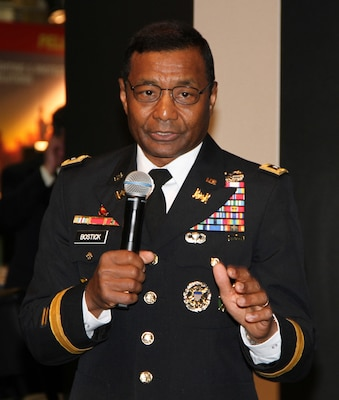 Lt. Gen. Thomas P. Bostick, commander of the U.S. Army Corps of Engineers, gives a speech about energy sustainability Oct. 24 during the annual Association of the United States Army Meeting and Exposition at the Walter E. Washington Convention Center in Washington, D.C.  (Photo by John Hoffman, USACE Headquarters)