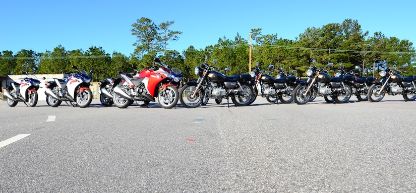 The 628th Air Base Wing Safety Office recently purchased 14 motorcycles to enhance their three motorcycle safety courses. The motorcycles will be used for Airmen and Sailors interested in purchasing motorcycles, but would like to try riding one first, and for those who own a motorcycle, but haven't taken the safety courses and are not licensed to ride on base. (U.S. Air Force photo/Senior Airman William O'Brien)