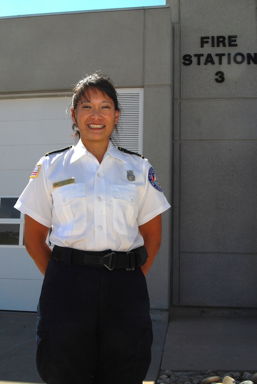 Elaine Perkins, a Honolulu native and the station captain for Fire Station 3 at the Air Force Academy in Colorado Springs, Colo., was named the 2011 National Image, Inc., Meritorious Service Award winner. She is scheduled to receive the award during a presentation in Los Angeles Sept. 13, 2012. (U.S. Air Force photo/Don Branum)