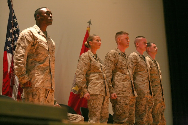 The Marines of Class 271-12, the latest graduating class of the Air Station's Corporals Course, graduated at the Lasseter Theatre, Aug. 21. The three-week course instructs these junior noncommissioned officers to lead, teach and guide young Marines.