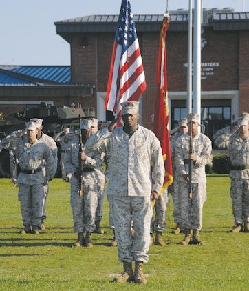 Lt. Col. Donald Gray, deputy director, Maintenance Management Center, Marine Corps Logistics Command, retires during a ceremony at Schmid Field here, Aug. 24.