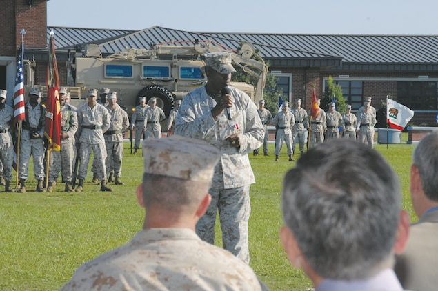 Lt. Col. Donald Gray addresses the crowd during his retirement ceremony at Schmid Field here, Aug. 24.