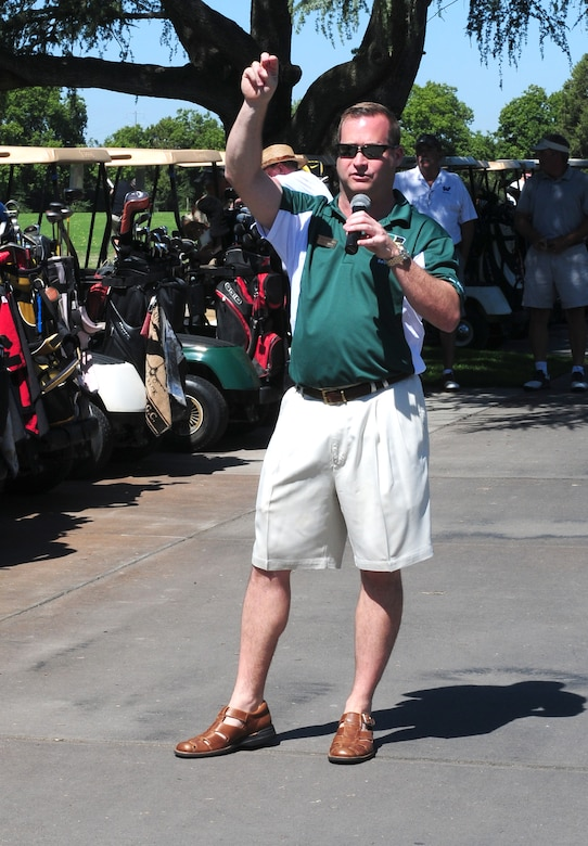 Col. Phil Stewart, 9th Reconnaissance Wing commander speaks during opening ceremonies of the Beale Liaison Group golf tournament at Peach Tree Golf Club Marysville, Calif., September 7, 2012. This was the 4th annual BLG golf tournament which helps raise money for many base agencies. . (U.S. Air Force photo by Senior Airman Allen Pollard)