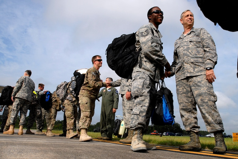 Personnel from the 169th Fighter Wing at McEntire Joint National Guard Base, S.C., return home to a hero's welcome after a four-month Air Expeditionary Force deployment at Kandahar Airfield, Afghanistan, Aug. 22, 2012. Swamp Fox F-16's, pilots, and support personnel began their AEF deployment in support of Operation Enduring Freedom in early April to take over flying missions for the air tasking order and provide close air support for troops on the ground in Afghanistan.