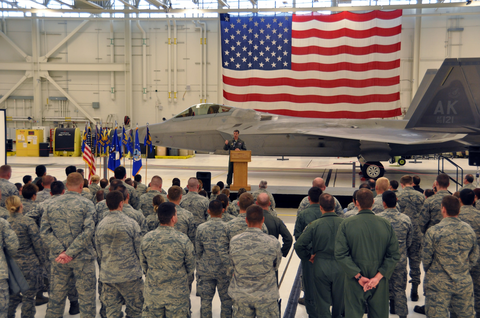 Col. Bryan Radliff, 477th Fighter Group commander, declares the 477th FG fully operational capable during a ceremony during the groups monthly Unit Training Assembly weekend Sept. 9. The 477th FG traces its unit back to the 477th Bombardment Group, a Tuskegee Airmen unit that never reached FOC.  The 477th FG was reactivated at Joint Base Elmendorf Richardson in 2007. (U.S. Air Force Photo by Tech. Sgt. Dana Rosso)