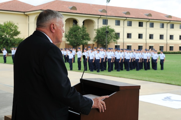 Retired Gen. Eugene Habiger is the reviewing official for the Basic Officer Training graduation parade Aug. 31 and is the 2012 Officer Training School distinguished alumni. (Photo by Bud Hancock)
