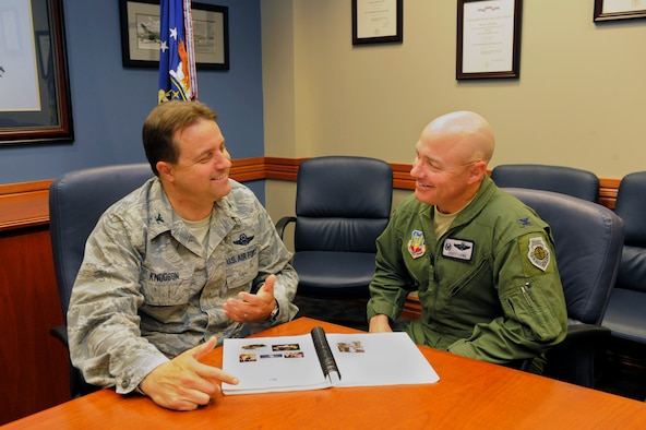 """Two wing commanders at Hill AFB, Utah, have taken the Air Force's Total Force Integration to a whole new, and very personal, level.  When Air Force Reserve Col. Keith """"K2"""" Knudson, commander of the 419th Fighter Wing (on left) was diagnosed with kidney failure last year, his active duty counterpart, Col. Scott """"Chemo"""" Long, commander of the 388th FW, volunteered to donate a kidney of his own.  The 419th FW is a classic associate Reserve unit tied to the 388th FW.  As part of their duties, Long and Knudson have worked closely on how best to capitalize on their shared equipment and facilities. Now they may soon be sharing a kidney.  """"We're taking TFI to a different level,"""" Long joked.  """"We're talking total organ integration."""" (U.S. Air Force photo/Todd Cromar)"""