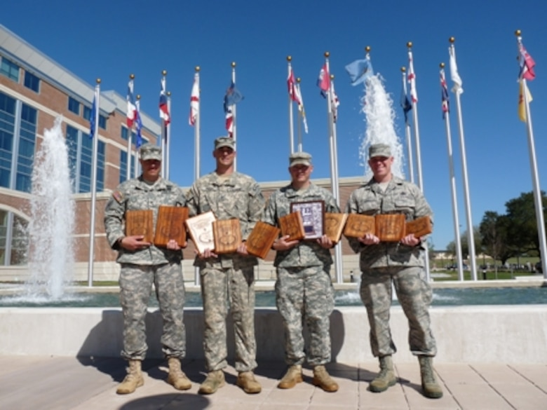 """The Missouri National Guard's team """"Regular Forces"""" took second place in overall team competition and scored high individually at the All Army Small Arms Championships at Fort Benning, Ga., in early March. Missouri Guard team members are (from left) Staff Sgt. Jody Salcido, Sgt. 1st Class James Phelps, Sgt. James Whitener and Master Sgt. Benjamin Israel. (Ann Keyes/Missouri National Guard)"""