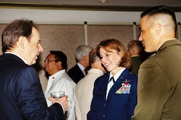 Dr. Ingo Neu (left), chief of party for PREPARE (Pandemic Preparedness); U.S. Air Force Brig. Gen. Pamela Milligan, U.S. Pacific Command operations' (J3) chief of staff; and U.S. Marine Col. Andrew Wilcox, U.S. Marine Corps Forces, Pacific, plans (G5) director, converse during the Philippine Multi-sectoral Pandemic Disaster Exercise held in Makati, Philippines, Sept. 10. As with other bilateral exchanges, this event reinforces the mutual commitment shared between the Philippines and the U.S. to enhance the effective response capabilities to regional threats.