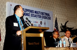 John McCombs, left, U.S. Pacific Command lead strategic response planner, gives a presentation during the Philippine Multi-sectoral Pandemic Disaster Exercise in Makati, Philippines, Sept. 10. As with other bilateral exchanges, this event reinforces the mutual commitment shared between the Philippines and the U.S. to enhance the effective response capabilities to regional threats.