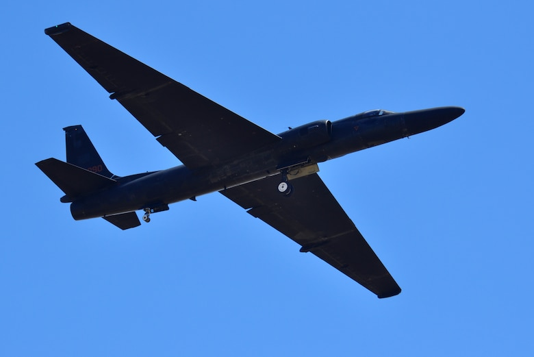 An Air Force U-2 Dragon Lady, Intelligence Reconnaissance and Surveillance aircraft from Beale Air Force Base performs a fly-over during the Capital City Air Show at Mather Airport, Sacramento, Calif., Sept. 8, 2012. The U-2 provides high-altitude, all-weather surveillance and reconnaissance for U.S. and allied forces. (U.S. Air Force photo by Staff Sgt. Robert M. Trujillo)