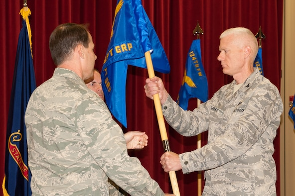 Col. Alan Clark assumes command of the 124th Mission Support Group from Col. Michael Nolan, Commander 124th Fighter Wing, at Gowen Field, Boise, on September 8.