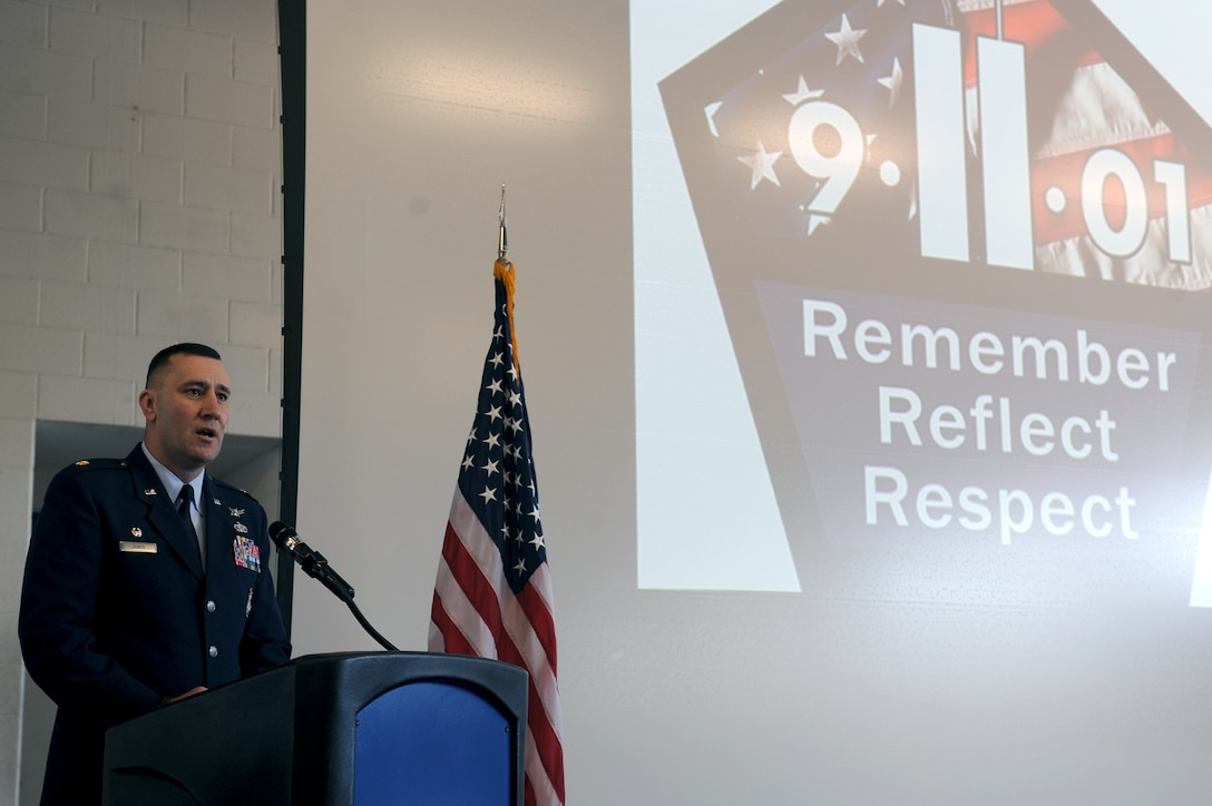 U.S. Air Force Maj. Troy Jones, 4th Security Forces Squadron commander, delivers a speech during the 9/11 Remembrance Ceremony on Seymour Johnson Air Force Base, N.C., Sept. 11, 2012. Members of the Seymour Johnson community came together to reflect on the events of 9/11 and honor those who lost their lives. (U.S. Air Force photo/Airman 1st Class John Nieves Camacho/Released)