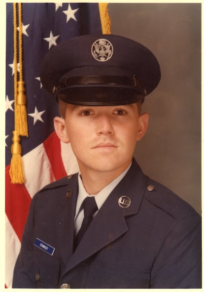 JOINT BASE SAN ANTONIO–LACKLAND, Texas -- Then Airman Basic Mark Renninger poses for his official photo during basic training in 1982. Chief Master Sgt. Renninger, the former 67th Network Warfare Wing command chief master sergeant, retired during a ceremony at Arnold Hall here Sept. 5, after 30 years of service. He said entering the Air Force at an older age (he turned 22 in basic training) may have played a part in rapidly progressing through the ranks, but mostly gives credit to doing as he was told, being a team player and staying out of trouble. (Courtesy photo)