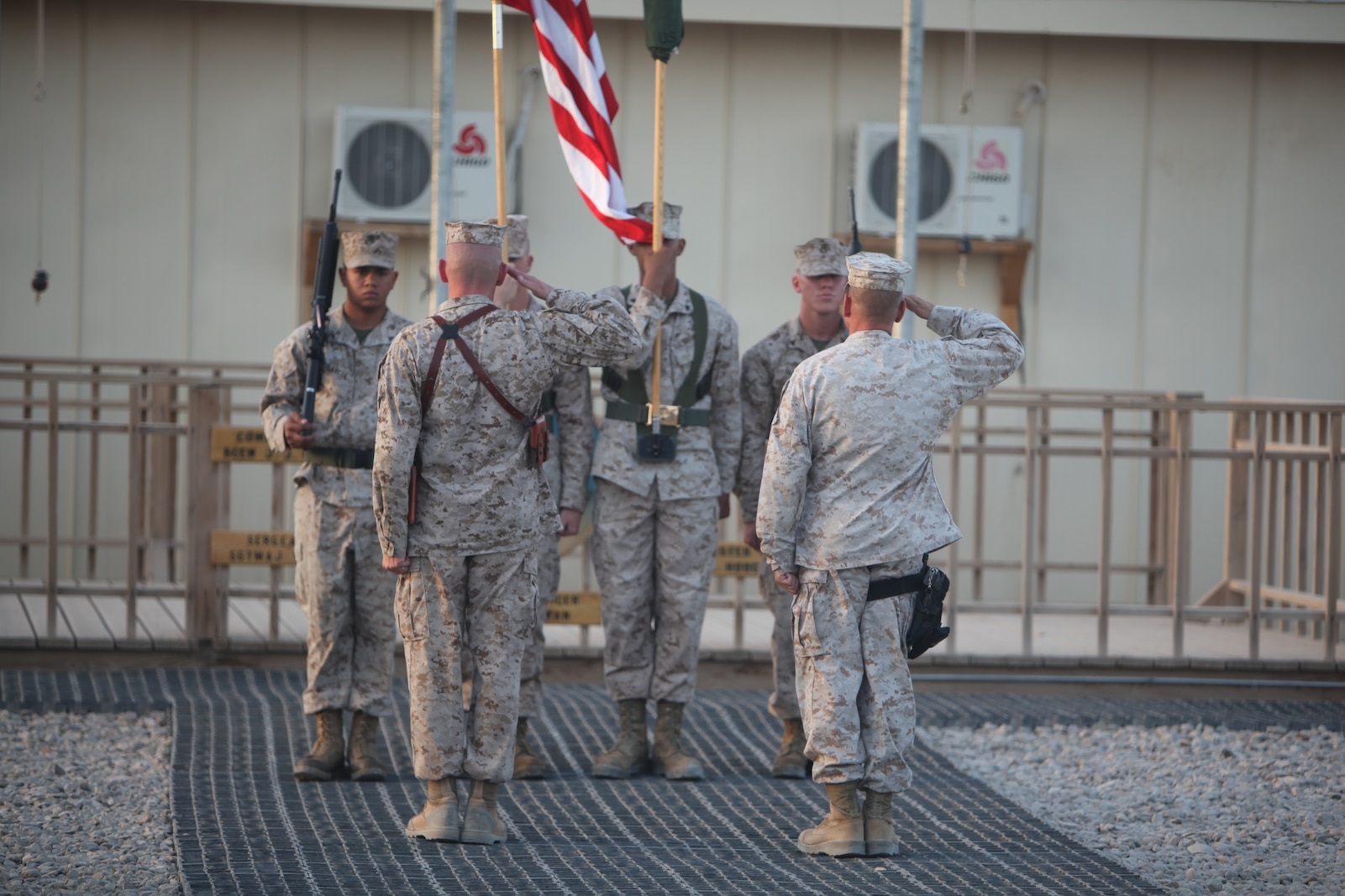 Col. Stephen D. Sklenka (right), commanding officer of Combat Logistics Regiment-15 and Sgt. Maj. William T. Sowers, CLR-15 sergeant major, salute the colors during a transfer of authority ceremony, Sept. 10. CLR-15 stands poised to provide the same range of logistics operations as its predecessor, ensuring the Marine Air-Ground Task Force remains mission-ready.