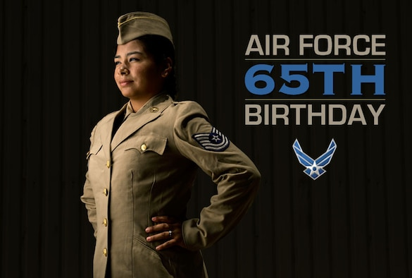 Doris Hernandez models a Khaki Shade 1 Women in the Air Force transition uniform worn between 1947 and 1950. (U.S. Air Force photo/Tech. Sgt. Bennie J. Davis III)