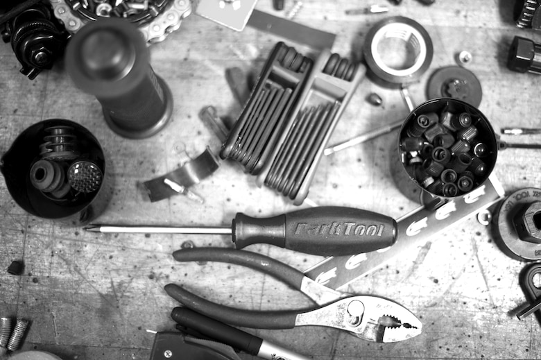 YOKOTA AIR BASE, Japan – Tools and bicycle parts lay on a workbench at the Outdoor Recreation center at Yokota Air Base, Japan, on Sept. 11, 2012. Yokota patrons can bring in their bicycle to the center for basic repairs and cleaning. (U.S. Air Force photo by Staff Sgt. Chad C. Strohmeyer)