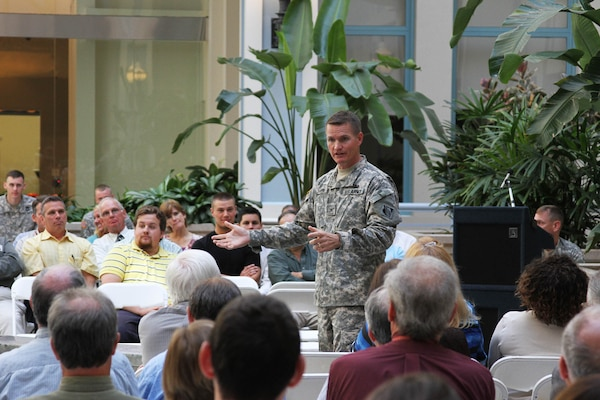 Col. Kent Savre, Commander of the North Atlantic Division, addresses Philadelphia District employees during a town hall meeting Sept. 12.