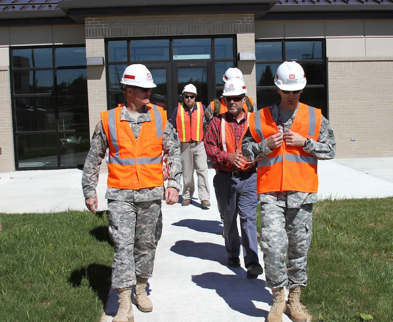 Col. Kent Savre (left), Commander of the North Atlantic Division, toured Dover Air Force Base military construction projects with Philadelphia District Commander LTC Chris Becking on Sept. 10.