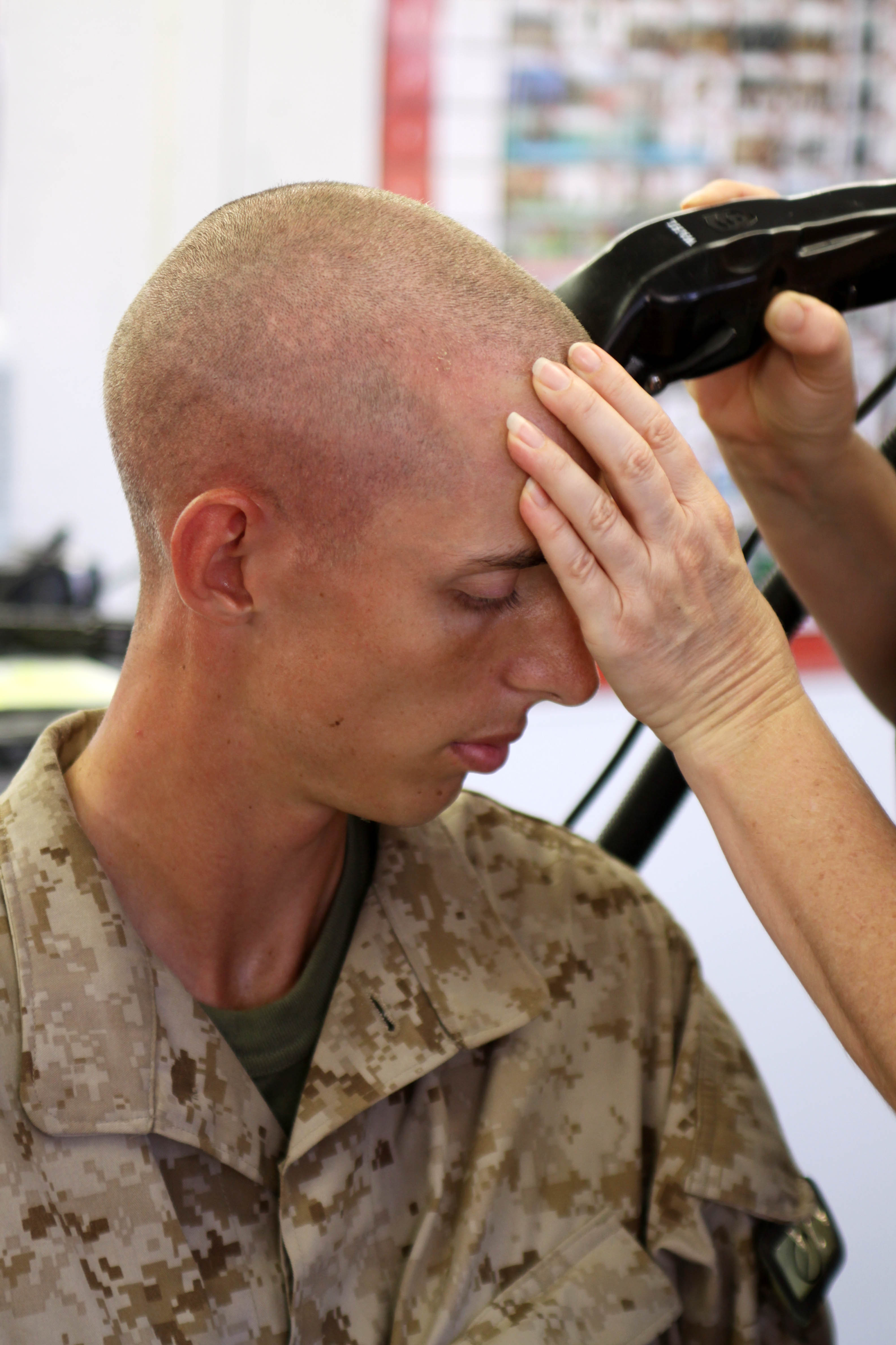 A Short Military Haircut On Young Marine Male