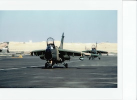 Two A-7D aircraft of the New Mexico Air National Guard, deployed to Egypt during Exercise Bright Star, 1980
