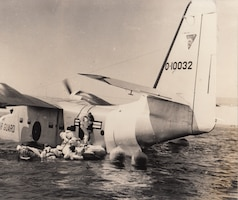 A Grumman SA-16 Albatross of the 135 Air Resupply Group, Maryland Air National Guard: most SA-16s in the U.S. Air served as search and rescue aircraft. Several ANG units, however, operated the flying boats in special missions, landing and recovering special operations forces by parachute or rubber boat.