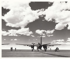 An Air National Guard Douglas B-26 Invader warms up before a simulated bombing mission at Natrona County Airport, Casper, Wyoming, August 1953.