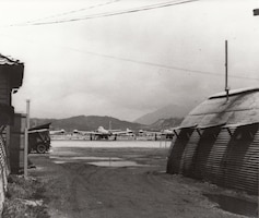 Headquarters and flight line of the 182d Fighter-Bomber Squadron, Texas Air National Guard, Korean War, undated.