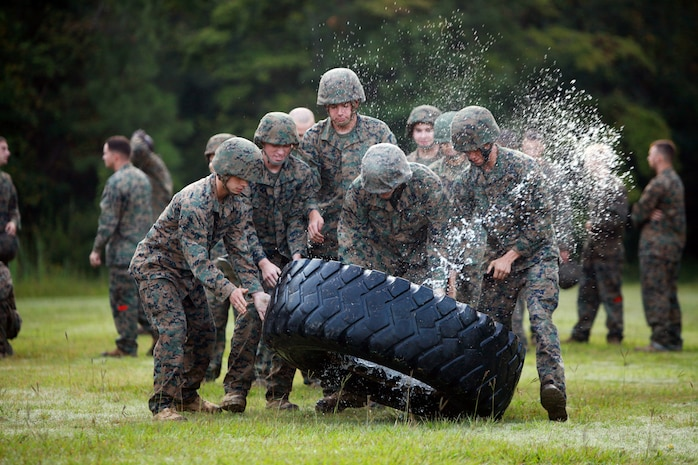 Service members with Landing Support Company, Combat Logistics Regiment 27, 2nd Marine Logistics Group, flip a tire during the endurance course at Battle Skills Training School aboard Camp Lejeune, N.C., Sept. 14. The participants were forced to use teamwork to get the tire from one location to another before moving on to the next obstacle.