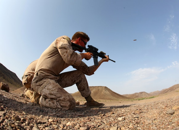 Cpl. Edward Yarborough, a native of Ocean Springs, Miss., and squad leader with 1st Platoon, Bravo Company, Battalion Landing Team 1st Battalion, 2nd Marine Regiment, 24th Marine Expeditionary Unit, fires an M-4 carbine during unknown distance marksmanship training as part of a three-week training package in Djibouti, Sep. 15, 2012. The training was focused on the application of infantry skills in rugged mountain terrain. The 24th MEU is deployed with the Iwo Jima Amphibious Ready Group as a theater reserve and crisis response force throughout U.S. Central Command and the Navy's 5th Fleet area of responsibility.