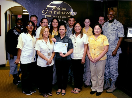 ANDERSEN AIR FORCE BASE, Guam -- Kristine Dizon, 36th Wing Force Support Squadron lodging reservationist, was awarded Team Andersen's Best Sept. 13. Andersen's Best is a recognition program which highlights a top performer from the 36th Wing. Each week, supervisors nominate a member of their team for outstanding performance and the wing commander presents the selected Airman/civilian with an award. To nominate your Airman/civilian for Andersen's Best, contact your unit chief or superintendent explaining their accomplishments. (U.S. Air Force photo by Airman 1st Class Mariah Haddenham/Released)