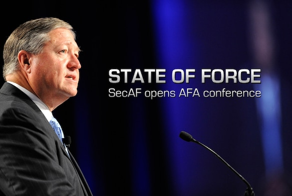 Secretary of the Air Force Michael Donley delivers his keynote address during the Air Force Association's Air & Space Conference and Technology Exposition in Washington, D.C., on Sept. 17, 2012. (U.S. Air Force photo/Scott M. Ash)