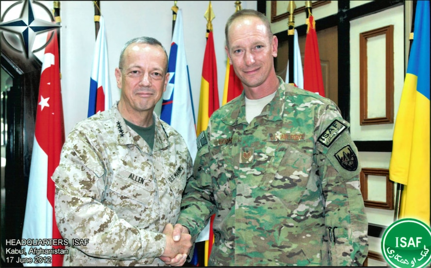 Staff Sgt. Rudolph Lonk, a Cutchogue resident and 106th Rescue Wing member, with General John Allen, commander of Coalition Forces in Afghanistan.