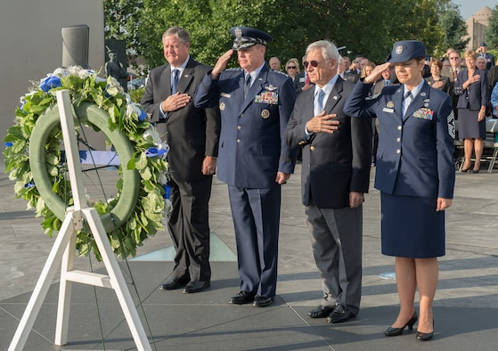 From the left: Secretary of the Air Force Michael Donley, Air Force Chief of Staff Gen. Mark A. Welsh III, Air Force Association Chairman of the Board S.Sanford Schlitt and the Senior Enlisted Leader to the Chief, National Guard Bureau Chief Master Sgt.  Denise Jelinski-Hall render honors during a wreath laying ceremony commemorating this year's fallen AFA members at the Air Force Memorial in Arlington, Va., Sept. 16, 2012. (U.S. Air Force photo/Jim Varhegyi)