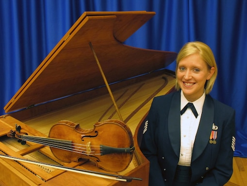 Soprano, Technical Sgt. Mandi Harper will perform a recital of music by J.S. Bach with Baroque violinist, Senior Master Sgt. Bill Tortolano and harpsichordist, Master Sgt. Steve Erickson on Sep. 23 at 3 p.m. in Alexandria, Va. (Air Force photo by Chief Master Sgt. Jan Duga)
