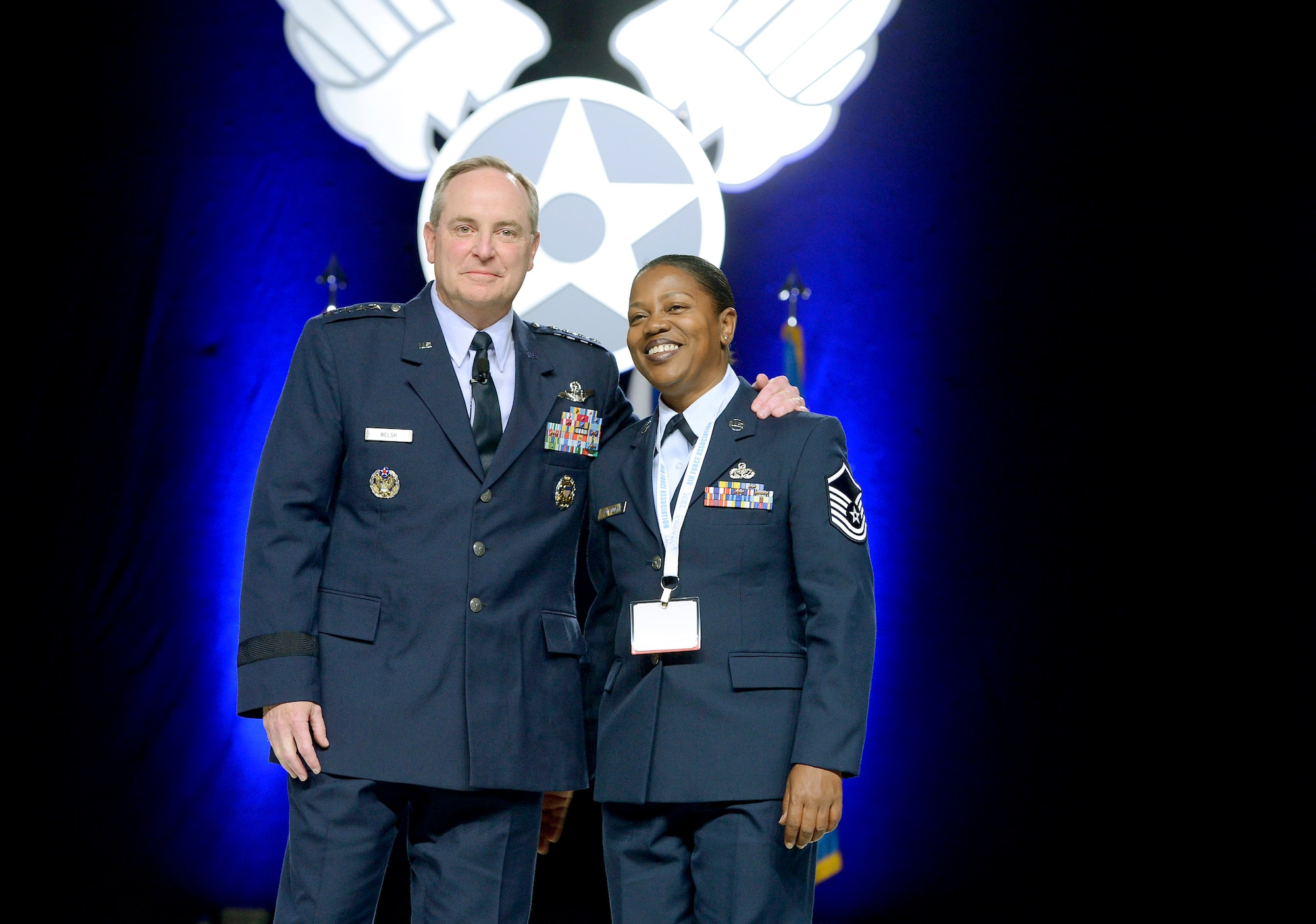 Air Force Chief of Staff Gen. Mark A. Welsh III recognizes Master Sgt. Toni Worthey for her leadership and efforts as a noncommissioned officer in charge at Air Force Mortuary Affairs Operations at Dover Air Force Base, Del., during his keynote presentation on the state of the Air Force at the Air Force Association's Air and Space Conference and Technology Exposition in Washington, D.C., Sept. 18, 2012.    (U.S. Air Force photo/Scott M. Ash)