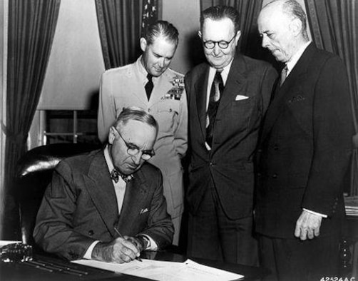 "In 1947, President Truman signed the National Security Act which established the new defense organization, and along with it the creation of the US Air Force as an independent service, equal to the US Army and US Navy. ""I remind all of our citizens that the air power of the nation is essential to the preservation of our liberty, and that the continued development of the science of air transportation is vital to the trade and commerce of a peaceful world."" ~ Harry S. Truman 33rd president of the United States. (KT)"