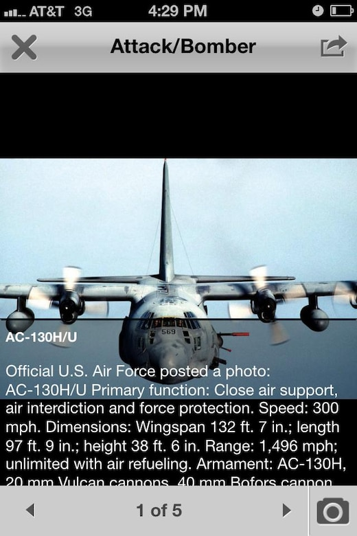 The Air Force Inventory section of the AFLINK mobile application has photographs of aircraft and other Air Force hardware. It also gives users historical reference and up-to-date details about each piece of equipment. (U.S. Air Force graphic)