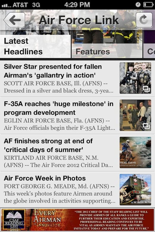 AFLINK mobile application users will also have access to Air Force news. (U.S. Air Force graphic)