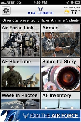 The front page of the AFLINK mobile application. (U.S. Air Force graphic)