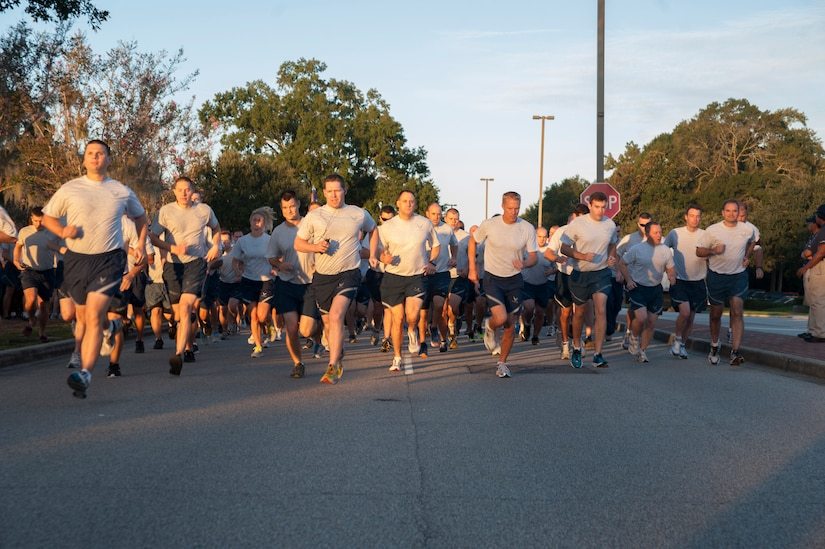 Runners participate in the 100th Commander's Challenge Run at Joint Base Charleston - Air Base, Sept. 14, 2012. The Commander's Challenge is held monthly to test Team Charleston's fitness abilities. (U.S. Air Force photo/Airman 1st Class Ashlee Galloway)