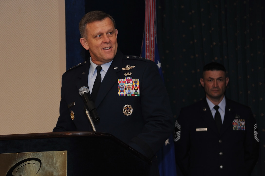 Assistant Vice Chief of Staff of the Air Force Lt. Gen. Frank Gorenc gives remarks during the Sept. 13 Air Force Operational Test and Evaluation Center change of command at Kirtland Air Force Base, N.M. (U.S. Air Force photo/Ken C. Moore)