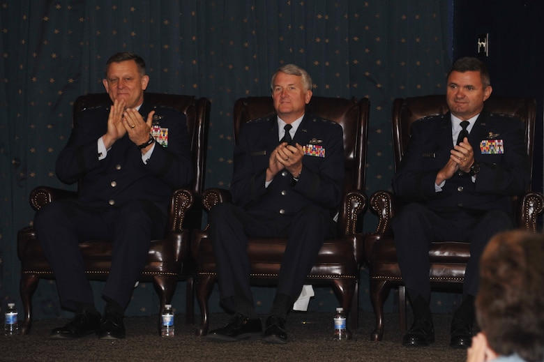 From the left: Assistant Vice Chief of Staff of the Air Force Lt. Gen. Frank Gorenc, departing Air Force Operational Test and Evaluation Center Commander Maj. Gen. David J. Eichhorn, and the incoming AFOTEC Commander Maj. Gen. Scott D. West welcome guests to the Sept. 13 change of command. (U.S. Air Force photo/Ken C. Moore)