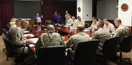 Leaders from across Marine Corps Base Camp Lejeune listen intently for instructions about the Combined Federal Campaign and how to donate aboard Marine Corps Base Camp Lejeune Sept. 14. The CFC is the largest and most successful charity organization in the United States.