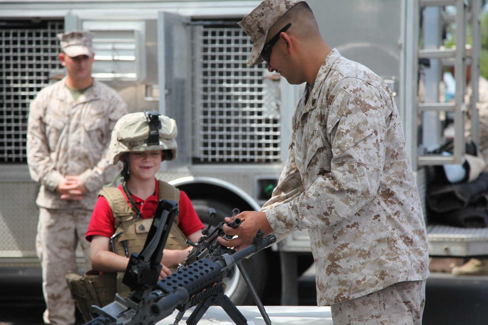 Marines with Combat Logistics Battalion 13 teamed with policemen, sheriffs, fire fighters and emergency medical technicians to promote Patriot Day 2012, a 9/11 remembrance event, held at Faith Lutheran Church, Sept. 9.